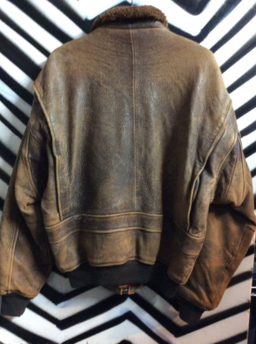 4d66a35a0 SUPER SOFT LEATHER BOMBER JACKET W/ PATCHES MAP LINING