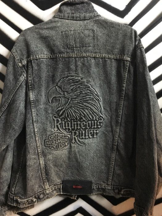 987ad79cd1da Harley Davidson EMBOSSED EAGLE BLACK DENIM JACKET » Boardwalk Vintage