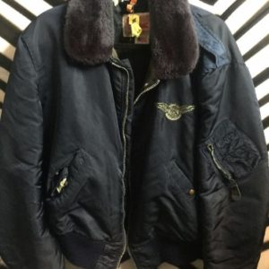 NYLON FLIGHT JACKET FAUX FUR COLLAR AIR MAIL BACKPATCH 1