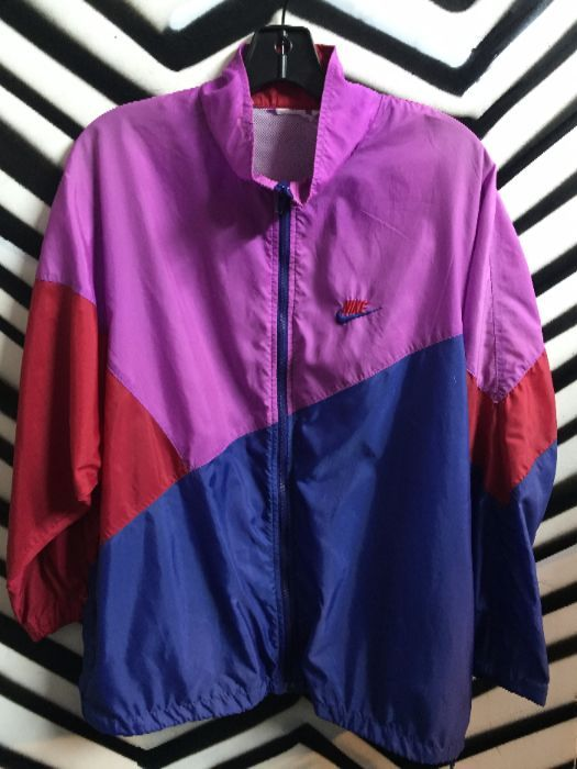 Nike Windbreaker - Purple Red Blue Color Block » Boardwalk Vintage e53fd65b7