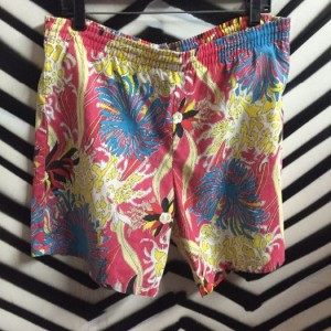 FADED FLORAL PRINT BOARD SHORTS 1