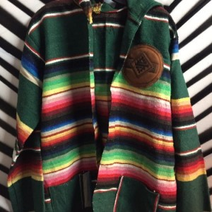 HOODED TAPESTRY JACKET LEATHER AZTEC PATCH 1