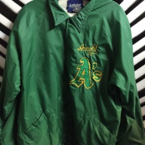 LINED WINDBREAKER JACKET OAKLAND A'S EMBROIDERED 1