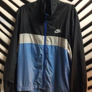 NIKE WINDBREAKER BLACK BLUE GREY STRIPED 1