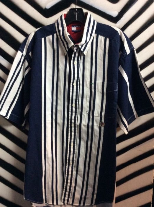 5bc4fe895 TOMMY HILFIGER SHIRT W/VERTICAL STRIPES - WHITE/NAVY/BLUE ...