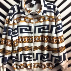 1980s Chains and Greek Key pattern zipup sweatshirt #VERSACE 1