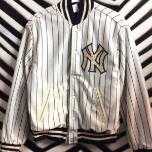 NY YANKEES PINSTRIPE BASEBALL JACKET LEATHER TRIM FLEECE LINING as-is 1