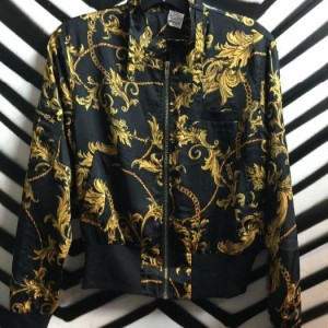1980S BAROQUE PRINT BOMBER JACKET SMALL FIT 1