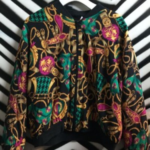 1980S BAROQUE PRINT BOMBER JACKET PUFFY COTTON 1