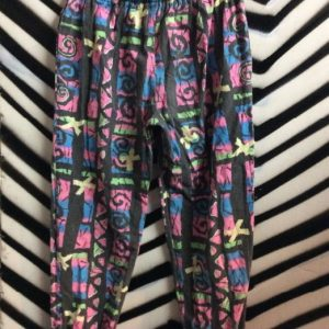 1980S CRAXY NEON PRINTED COTTON BEACH PANTS TAPERED as-is 1