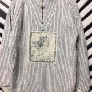 1980S-90S PULLOVER STRIPED SWEATSHIRT WOLFE PATCH 1