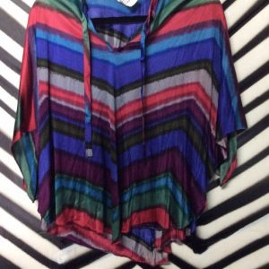 70S PSYCH PRINT BATWING TOP POLY 1