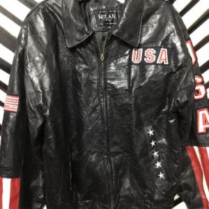 patchwork LEATHER 80S BOMBER JACKET EAGLE USA PATCH 1