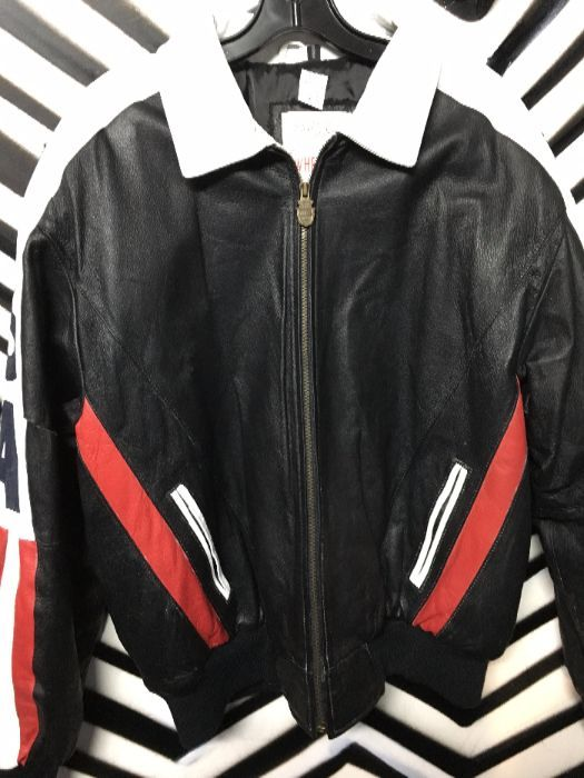 LEATHER BOMBER JACKET AMERICAN FLAG BACK USA as-is 1