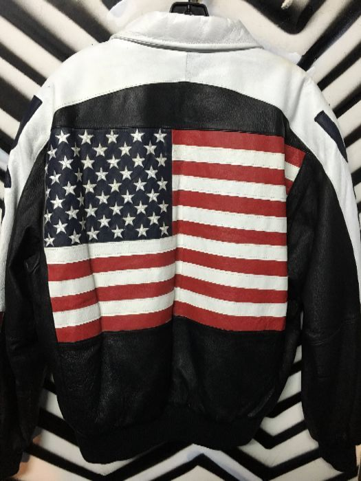 af867757e24 LEATHER BOMBER JACKET – W AMERICAN FLAG   USA » Boardwalk Vintage