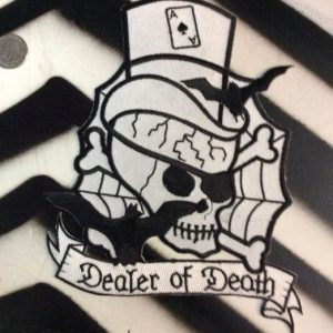 LARGE BACK PATCH- DEALER OF DEATH SKULL W/ TOP HAT 1