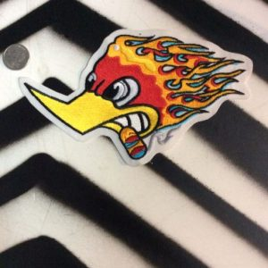 LARGE BACK PATCH- ROADRUNNER WOODPECKER FLAMES STP 1