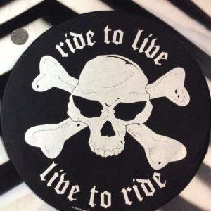 LARGE BACK PATCH- ROUND RIDE TO LIVE LIVE TO RIDE SKULL 1