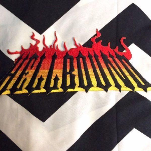 LARGE BACK PATCH- HELLBOUND RED FLAMES YELLOW 1
