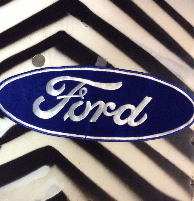 LARGE BACK PATCH- FORD LOGO BLUE WITH WHITE LETTERING 1
