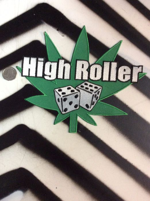 LARGE BACK PATCH- BUD LEAF with dice High Rollers 1