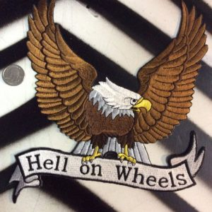 LARGE BACK PATCH- HELL ON WHEELS BROWN EAGLE - 1