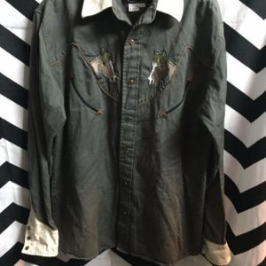 LS BD WESTERN SHIRT EMBROIDERED HORSES 1