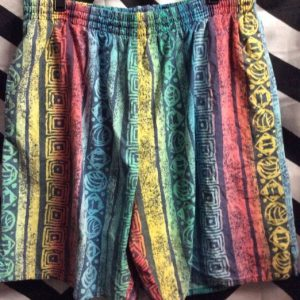 Eddie Bauer swim trunk rainbow tribal patten 1