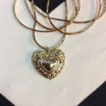 VINTAGE HEART PENDANT NECKLACE SNAKE CHAIN 1