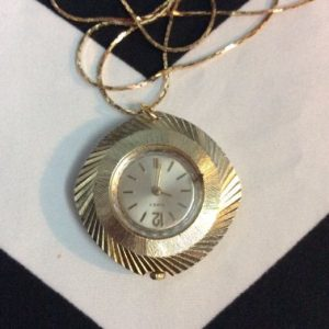 VINTAGE POCKET WATCH NECKLACE SNAKE CHAIN 1