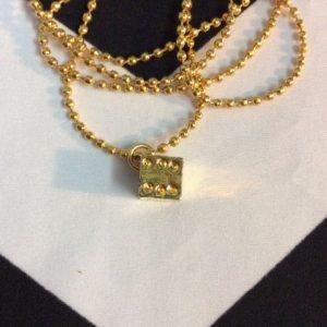 GOLD DICE NECKLACE BALLCHAIN 1