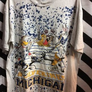 MICHIGAN FOOTBALL LOONEY TUNES T SHIRT 1