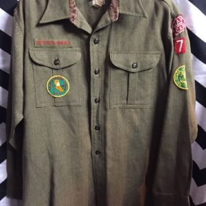 BOY SCOUTS LS BD ARMY GREEN WOOL W/ PATCHES 1