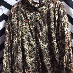SATIN JACKET CHEETAH PRINT WITH MEDALLION PIN 1
