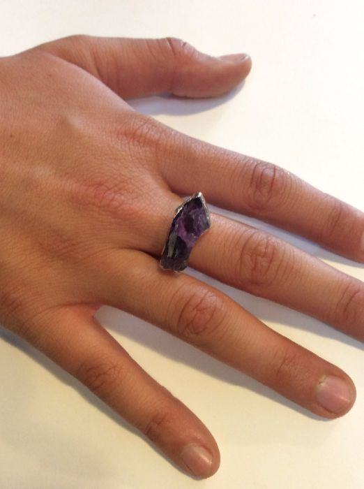 product details: AMETHYST CRYSTAL SQUARE RING, GOLD TONE photo