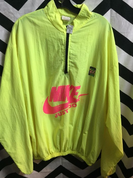 best service 2fcc7 347bd 1980S NIKE PULLOVER SURF STYLE WINDBREAKER JACKET W/COLLAR - NEON COLORS