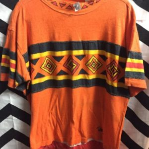 TSHIRT AZTEC PRINT STRIPE BLACK YELLOW 1