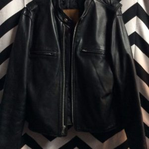 CLASSIC HEAVY LEATHER MOCK COLLAR CAFE RACER JACKET 1