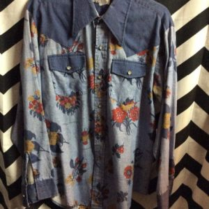 LS BD floral western shirt with pearl snaps 2