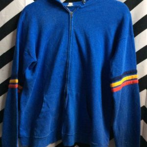 ZIPUP HOODED SWEATER BLUE YELLOW AND RED TRIM 1