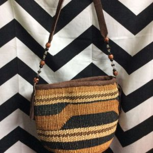 WOVEN BASKET PURSE WITH BEADED LEATHER HANDLE 1
