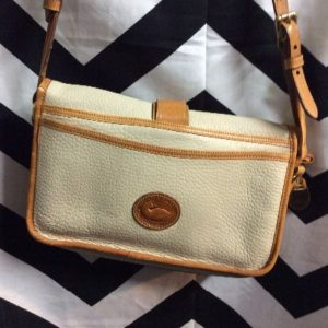 DOONEY & BOURKE LEATHER SHOULDER BAG BRASS HARDWARE 1