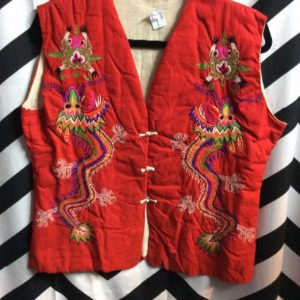 FAR EAST ASIAN VEST W/ DRAGON Embroidery 1