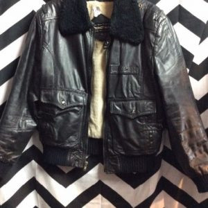 LEATHER BOMBER JACKET SHERPA LINED SMALL FIT 1