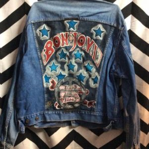 1960S-70S CLASSIC DENIM JACKET HAND-PAINTED BON JOVI BACK PRINT 1