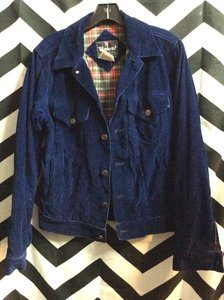 NAVY CORDUROY RED PLAID LINING WINDCREST JACKET SMALL FIT 1