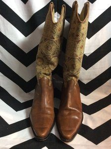 BROWN LEATHER AZTEC TAPESTRY BRAZILIAN BOOTS 1