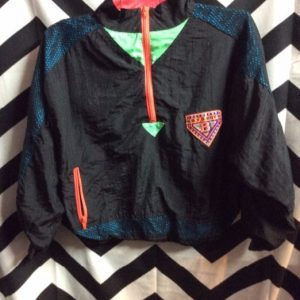 1990S CROPPED NEON MESH COLOR BLOCK WINDBREAKER JACKET SMALL FIT 1