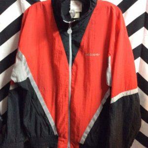 Adidas windbreaker black red grey reflective strip 1