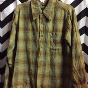 RETRO WOOL LS BD FLANNEL SHIRT PENDLETON *hole 1